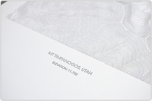 Timpanogos Art Letterpress Topo Map